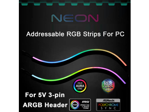 NEON Digital RGB LED Strip for PC, Addressable LED Strip for 5V 3-pin ARGB LED Header, Compatible with Aura SYNC, Gigabyte RGB Fusion, MSI Mystic Light Sync, Come with 12pcs Strong Magnetic Brackets