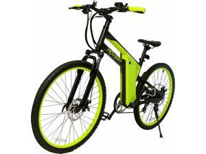 """Hover-1 Hybrid UL Certified Pedal Assisted Electric Bike w/ 26"""" Wheel, Alloy Frame, 3 Speed Mode, Shimano Derailer, Front & Rear Disc Breaks - Black and Neon Green"""