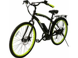 """Hover-1 Pilot UL Certified Pedal Assisted Electric Bike w/ 26"""" Wheel, Alloy Frame, 3 Speed Mode, Removeable Battery, Shimano Derailer, Front & Rear Disc Breaks - Black and Neon Green"""