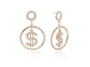 Dollar Sign Earrings Money Symbol Drops Gold Plated Alloy Dangles Fashion Rhinestone Jewelry for Women and Girls