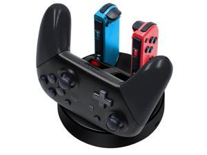 Nintendo Switch Charger Charging Station, 4 in 1 Nintendo Switch Joycon Controller Charger Charging Dock Stand with Type C Charging Cable