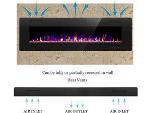 60'' Recessed and Wall Mounted Electric Fireplace,Ultra Thin&Low Noise