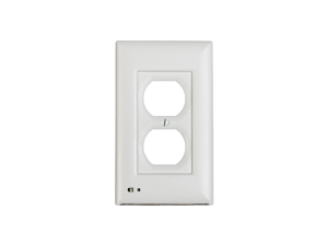 briteOWL White Duplex Lighted Outlet Cover, with backup light for power failures and optional night light feature.