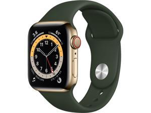 Apple Watch Series 6 40mm Gold Stainless Steel Case with Cyprus Green Sport Band (GPS + Cellular Unlocked) M02W3LL/A