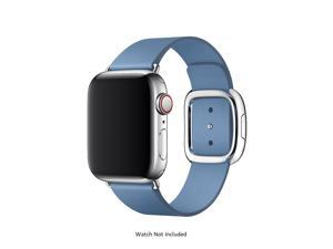 Apple 40mm Cornflower Modern Buckle for Apple Watch - Medium (Stainless Steel Buckle, Blue Leather Band) MV6N2AM/A
