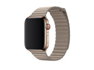 Apple 44mm Leather Loop for Apple Watch Medium (Magnetic Closure, Leather Band) Stone - MTHC2AM/A