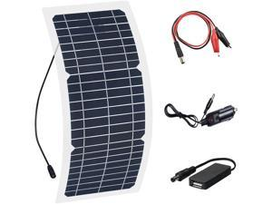 XINPUGUANG Flexible Solar Panel, 10W 12V Monocrystalline Silicon PV Module with Alligator Clip Cable for RVs Car Boats,  Battery Charging,   Boat Cabin