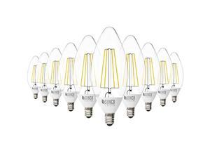 Sunco Lighting 10 Pack B11 LED Candelabra Bulb, Dusk-to-Dawn, 5W=40W, 4000K Cool White, Edison Vintage Filament, 500 LM, E12 Base, Outdoor Decorative Light for Sconces - UL