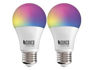 Sunco Lighting 2 Pack WiFi LED Smart Bulb, A19, 6W, Color Changing (RGB & CCT), Dimmable, 480 LM, Compatible with Amazon Alexa & Google Assistant - No Hub Required
