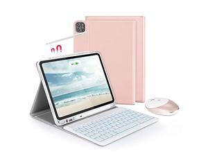 """Bluetooth Backlit Keyboard Case with 2.4 G + Bluetooth Mouse for iPad Pro 11"""" 2021/2018/2020 (1st / 2nd / 3rd Gen), Jelly Comb Keyboard Case with Dual Mode Mice, Rose Gold"""