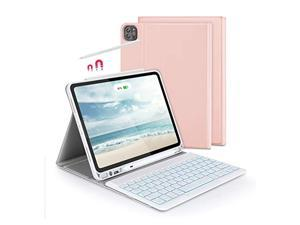 """Bluetooth Backlit Keyboard Case for The New iPad Pro 11"""" 2021/2018/2020 (1st / 2nd / 3rd Gen), Jelly Comb Wireless Keyboard with Apple Pencil Holder for iPads, Rose Gold"""