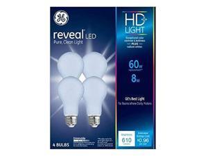 GE Lighting Reveal HD+ A19 E26 (Medium) LED Bulb Pure Clean Light 60 Watt Equivalence 4 pk
