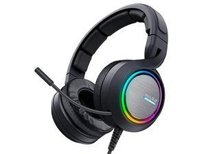 ABKONCORE B1000R Gaming Headset with True 5.2 Surround Sound for PC, Laptop, USB Headset with Noise-Cancelling Microphone, Gaming Headphones with Bass Vibration, RGB LED Light, in-line Controller