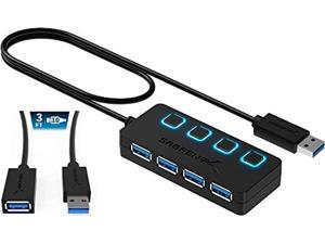 Sabrent 4-Port USB 3.0 Hub + 3 Ft 22AWG USB 3.0 Extension Cable - A-Male to A-Female in Black