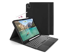 Backlit Bluetooth Trackpad Keyboard Case for The New iPad Pro 11 inch 2021/2018/2020 (1st / 2nd / 3rd Gen), Jelly Comb Wireless Keyboard Case with Build-in Touchpad, Black