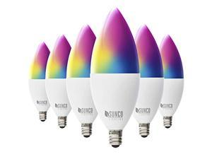 Sunco Lighting 6 Pack WiFi LED Smart Bulb, B11 Candelabra, 4.5W, E12 Base, Color Changing (RGB & CCT), Dimmable, Compatible with Amazon Alexa & Google Assistant - No Hub Required