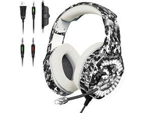 ONIKUMA Gaming Headset for PS5, PS4, Xbox One Headset with Noise Canceliing Mic, 7.1 Surround Sound, LED Light, Over-Ear Headphones Compatible with PC, PS5, PS4, Xbox One, Laptop, Mac