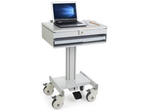 Displays2go Mobile Computer Carts, Locking Drawer, Height Adjustable, Steel, Plastic & MDF Construction – Gray (DWMDCOM) (DWMDC0M)
