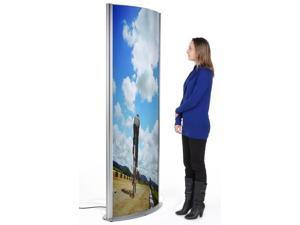 """Floor-Standing Curved Poster Stand for (2) 27"""" x 77"""" Graphics, Illuminated and Double-sided with Front-loading Frames- Silver (TOTM2777IL)"""