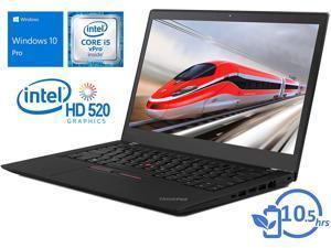 Lenovo Notebook 20JS0019CA ThinkPad T470s 14 inch Core i5-6300U 8GB 256GB Windows 10 DG Windows 7 Pro 64 French Operation System and Keyboard Retail