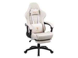 DOWINX Gaming Chair Office Desk Chair with Massage Lumbar Support Type, Vintage Style Armchair PU Leather E-Sports Gamer Chairs with Retractable Footrest (Ivory)