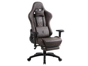 Dowinx Gaming Chair Ergonomic Retro Style Recliner with Massage Lumbar Support Office Armchair for Computer PU Leather with Retractable Footrest Brown