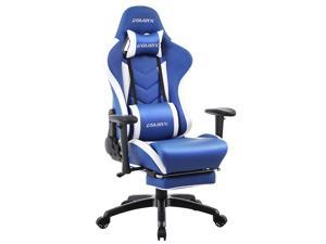 Dowinx Gaming Chair with Footrest Ergonomic Racing Style Recliner with Massage Lumbar Support, Office Armchair for Computer PU Leather E-Sports Gamer Chair High Back Blue