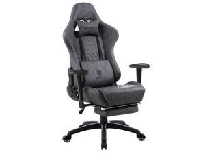 Dowinx Gaming Chair Ergonomic Retro Style Recliner with Massage Lumbar Support Office Armchair for Computer PU Leather with Retractable Footrest Grey