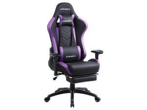 Dowinx Gaming Chair with Footrest Ergonomic Racing Style Recliner with Massage Lumbar Support, Office Armchair for Computer PU Leather E-Sports Gamer Chair High Back Purple