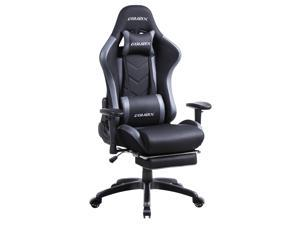 Dowinx Gaming Chair with Footrest Ergonomic Racing Style Recliner with Massage Lumbar Support, Office Armchair for Computer PU Leather E-Sports Gamer Chair High Back Grey