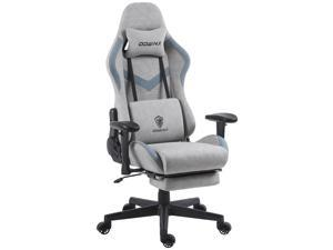 Dowinx Gaming Chair Breathable Fabric Office Chair with Massage Lumbar Support, High Back Ergonomic Computer Chair Adjustable Swivel Task Chair with Footrest (Grey)