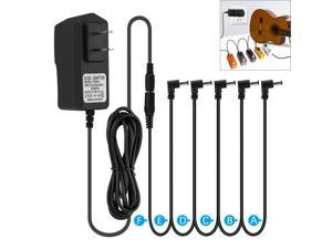 Guitar Pedal Power Supply Adapter US 9V 1A  5 Way Splitter Cables for Boss JOYO