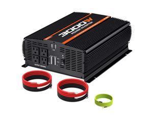 3000W Power Inverter 4AC Outlets DC 12V to 110V AC Car Inverter  2USB Port