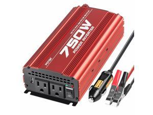 750W Power Inverter DC 12V to AC 110V Converter with 2A USB Charging Port
