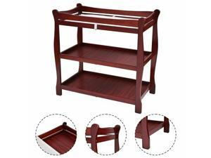 Cherry Sleigh Style Baby Changing Table Infant Newborn Nursery Diaper Ston