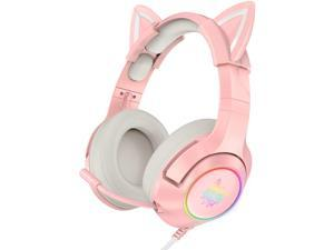 Pink Gaming Headset with Removable Cat Ears, for PS5, PS4, Xbox One (Adapter Not Included), Nintendo Switch, PC, with Surround Sound, RGB LED Light & Noise Canceling Retractable Microphone