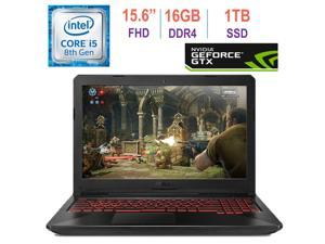 Asus TUF Gaming FX504 15.6-inch FHD(1920x1080) IPS Laptop PC, 8th Gen Intel i5-8300H (Up to 3.9GHz), GeForce GTX 1050, 16GB RAM, 1TB Solid State Drive, Red Backlit Keyboard, Bluetooth, Windows 10
