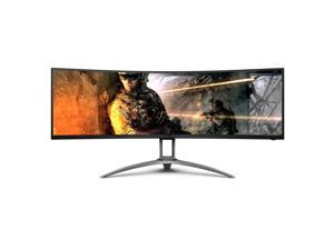 "AOC AGON AG493UCX 49"" Curved Immersive Gaming Monitor, Dual QHD 5120x1440 @ 120Hz, VA Panel, 1ms 120Hz Adaptive-Sync, 121% sRGB, Height Adjustable, 4-Yr Zero Dead Pixels Guarantee,Black/Silver"