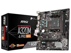 MSI ProSeries AMD A320 1st, 2nd, 3rd Gen Ryzen Compliant AM4 DDR4 HDMI DVI M.2 USB 3 Micro-ATX Motherboard (A320M-A PRO MAX) (A320M-APROMAX)
