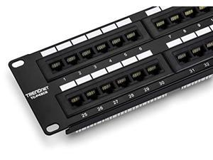TRENDnet 48-Port Cat6 Unshielded Patch Panel, TC-P48C6, Wallmount or Rackmount, Compatible with Cat 3/4/5/5e/6 Cabling, Gigabit/Fast Ethernet/Ethernet Ready,250Mhz Connection to Copper Giga (TC-P48C6)