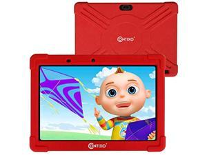 Contixo 10 Inch Kids Learning Tablet with Parental Control 16GB Android 9.0 for Children Infant Toddlers At Home School - Pre-Loaded Educational Apps/Games - Child-Proof Case Great Gift For Kids (Red)