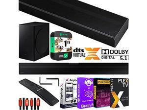 SAMSUNG HW-Q60T 5.1ch Acoustic Beam Soundbar with Dolby Digital 5.1 / DTS Virtual:X Theater 3D Surround Sound Q Series Bundle with 2X Deco Gear HDMI Cables + Streaming Kit + Extended Cov (E1SAMHWQ60T)