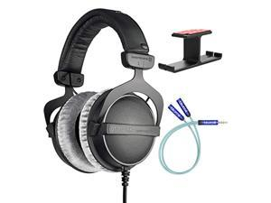 Beyerdynamic DT 770 PRO 32 Ohm Closed-Back Headphones for Smartphones, Computers, and Mobile Devices Bundle with Blucoil Aluminum Dual Suspension Headphone Hanger, and Y Splitter for Audio and (A2160)