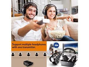 ARTISTE ADH300 Wireless Headphones for TV with RF Transmitter for Netflix Hulu Watching and Listening-Digital Over Ear Cordless TV Headphones Rechargeable 20 Hour Battery and Charging Dock (ADH300)