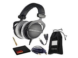 Beyerdynamic DT 770 Pro 80 Ohm Closed-Back Studio Mixing Headphones Bundle -Includes- Soft Case, Headphone Splitter and Extension Cable, and 6AVE Cleaning Cloth (DT770PRO80-1)