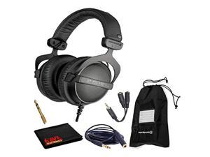 Beyerdynamic DT 770 Pro 32 Ohm Closed-Back Studio Recording Headphones Bundle -Includes- Soft Case, Headphone Splitter and Extension Cable, and 6AVE Cleaning Cloth (DT770PRO32-2)