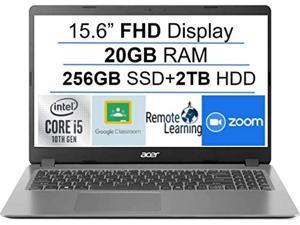 """Newest Acer Aspire 3 15.6"""" FHD 1080P Laptop Computer, 10th Gen Intel Quad-Core i5 1035G1 (Beats i7-7500u), 20GB DDR4 RAM, 256GB SSD+2TB HDD, Webcam, HDMI, WiFi, Bluetooth, Windows 10, AllyFlex MP"""