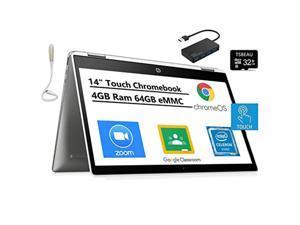 "Newest HP Chromebook x360 14"" HD 2-in 1 Touchscreen Laptop, Intel Celeron N4000, 4GB Memory 64GB eMMC, Bluetooth, Chrome OS, Bundled with TSBEAU 32GB Micro SD Card  and  4 Port USB 3.0 Hub  and  USB L"