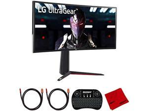 LG 34GN850-B Ultragear 34 inch QHD 3440x1440 21:9 Curved Gaming Monitor Bundle with 2.4GHz Wireless Keyboard, 2X 6FT Universal HDMI 2.0 Cable and Microfiber Cleaning Cloth (E40LG34GN850B)