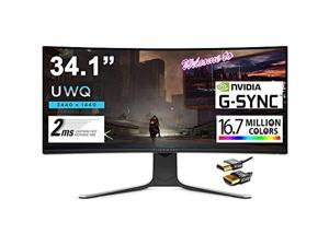 ALIENWARE 34 Curved Premium Gaming Monitor 34.1? UWQHD (3440 x 1440) 120Hz Refresh Rate Nano IPS Panel 2ms Response 21:9 16.7 Million Colors Nvidia G-SYNC 178° Viewing Angle + iCarp HDMI Cable
